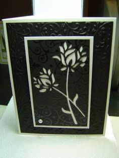 MB Wild Blooms Silhouette...lots of texture in this elegant design...die cut into black paper withe a white laryer behind...