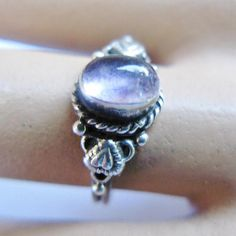 Small Amethyst Sterling Silver Ring Vintage Ornate Heart Motif