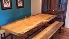 Bad Goat slab put together nicely with pipes by the Bell's in Missoula Pine Table, Slab Table, Large Table, Project Ideas, Projects, Put Together, Dining Room Table, Pipes, Goat