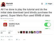 Super Mario Run für iOS: Wie viel mobile Daten verbraucht der Klempner jetzt? - https://apfeleimer.de/2016/12/super-mario-run-fuer-ios-wieviel-mobile-daten-verbraucht-der-klempner-jetzt - Nachdem wir Euch heute schon von den Download- und Umsatzzahlen von Nintendo's Super Mario Run für iOS berichtet haben, liefern wir Euch heute eine kleine Short-News zum Datenverbrauch der App nach. Zumindest das, was wir dazu bis jetzt recherchieren konnten. Was wir auf jeden Fall sagen