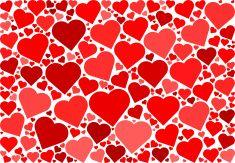 Red Hearts Love Pattern vector art illustration