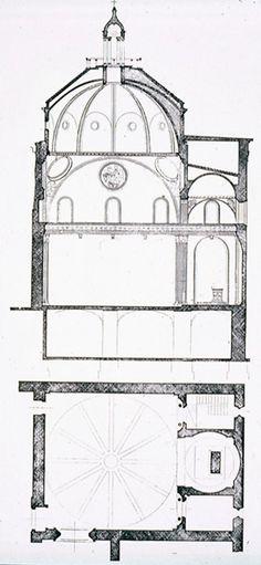 Plan & section of Old Sacristy, begun 1421, commissioned by Giovanni di Bicci de' Medici, San Lorenzo / Filippo Brunelleschi.