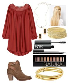 """""""Maybe for Saturday?"""" by emmacaseyyyy ❤ liked on Polyvore featuring H&M, H by Hudson, Kendra Scott, Orelia, Charlotte Russe, Madewell, NARS Cosmetics, Forever 21 and Karen Kane"""