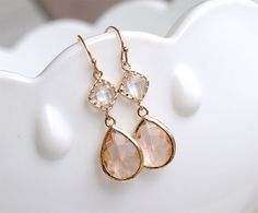Champagne Earrings in Gold - Bridesmaid Earrings - Blush Earrings - Peach Earrings - Gift For Her - Wedding Jewelry, Bridesmaid Jewelry