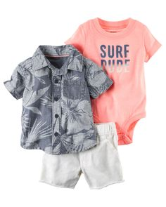 Baby Boy 3-Piece Neon Little Short Set Complete with super cool screen prints and coordinating shorts, this soft 3-piece set is perfect for spring.