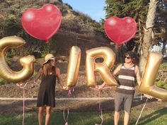 Gender announcement with letter balloons! Baby announcement for baby girl. @laceycshelton