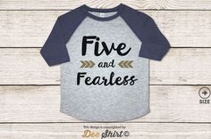 """Celebrate your beautiful toddlers fifth birthday with our """"Five and Fearless"""" baseball shirt. Perfect for baby announcement, birthday, and new years party.  Our tees are made to order using either vinyl heat press or direct to garment. Please note that direct to garment ink printing results in lighter design, more vintage look.  • Processing & Delivery It takes 3 business days for us to print the garment. In addition, shipping thru USPS First Class (3-5 business days), Priority (2-3 busin..."""