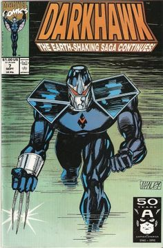 Darkhawk No.7 September 1991 No joke it's an earth shaking saga! Says so right on the cover. http://www.amazon.com/dp/B001ECGR5A/ref=cm_sw_r_pi_dp_roqmsb0ZA8AE6NPW