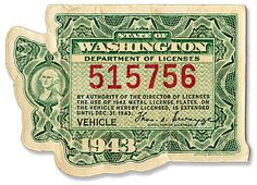 1943 diecut decal for WA state vehicle license
