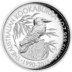 1 $ Dollar - 25th Anniversary Kookaburra - 1 Oz. Silver Proof Coin in High Relief. AUSTRALIEN 2015  1 $ Dollar - 25 Jahre Kookaburra - Jubiläumsausgabe - 1 Oz. Silber - High Relief Prägung - in Polierter Platte.