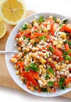 Here is a great Mediterranean Chickpea Salad recipe with Red Peppers and Feta cheese! It's also light and healthy!