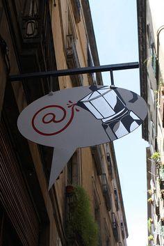 internet cafe sign in Barcelona