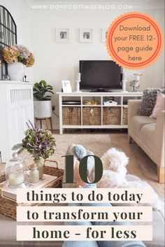 10 easy things you can do today to transform your home on a tight budget. From upcycling furniture, to decluttering, to accessorising your home, these are quick easy projects you can do to make an impact in your home on for less Cosy Lounge, Lounge Decor, Things To Do Today, Vintage Interiors, Scandi Style, Tight Budget, Upcycled Furniture, Decluttering, Best Interior