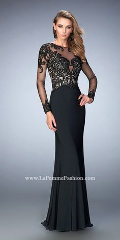 Long Sleeve Illusion Gown by Gigi