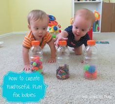 How to create pursposeful play for babies: fill empty bottles with balls, pom poms, glitter, confetti, etc to create a sensory activity for babies 6 months and up.