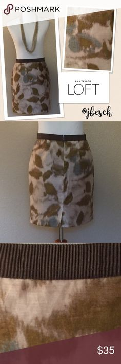 Ann Taylor Loft Watercolor Skirt This beautiful Ann Taylor Loft skirt features a brown, olive green, light blue and cream pattern that makes you think of a watercolor painting. It has a brown grosgrain elastic waistband and one side pocket. It is made of 73% ramie and 27% nylon with an acetate lining. 💕Johnna Ann Taylor Skirts Midi
