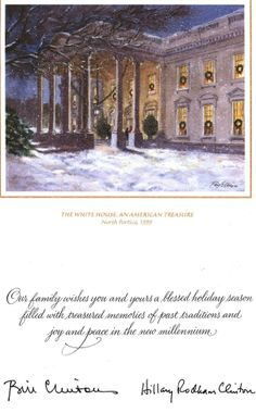 white house christmas card 1999 the clintons selected the white house