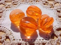 Tropical Orange Fluted Melons Vintage Lucite by vintagebeadnut, $4.00