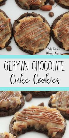 German Chocolate Cake Cookies- This easy cookie recipe from a box is topped with a delicious coconut pecan frosting and only takes 4 ingredients and a few minutes to put together. Gourmet Cookies, Cookie Desserts, Just Desserts, Delicious Desserts, Yummy Food, Delicious Dishes, Healthy Food, Easy Cookie Recipes, Sweet Recipes