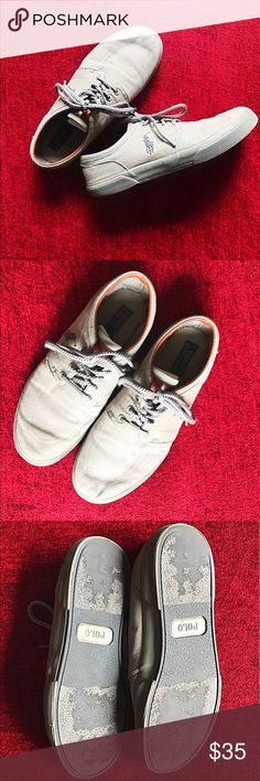 Polo Ralph Lauren Faxon Low Lace up sneaker with metal eyelets and embroidered logo on the side. Cotton and suede. Color: light gray/green. Size 10.5. Used but in good condition. Polo by Ralph Lauren Shoes Sneakers