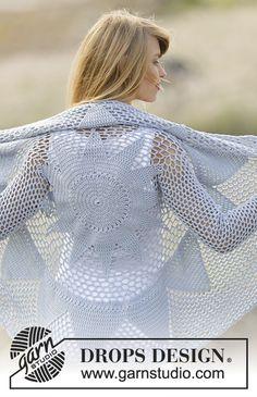 """Endless Love - Gehaakt DROPS vest, wordt in een cirkel gehaakt met stokjes en kantpatroon van """"Cotton Merino"""". Maat S – XXXL. - Free pattern by DROPS Design"""