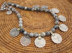 Zebra Jasper and Ethnic Coin Necklace OOAK by StoneandStem on Etsy  #bohochic #coinnecklace #flirty #handmade #etsy #gyspyjewelry