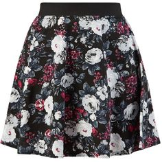Bring in the new season with darker floral prints for an edgier feel. This black skater skirt is great with a black tee and T-bar heels. Flare design. Fitted w…