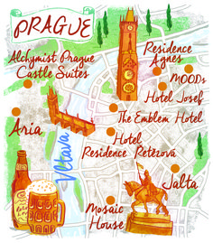 Prague map by Robert Littleford. March 2016 issue