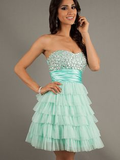 2014 A-line short green princess sleeveless inexpensive formal prom dress with rhinestone | Cheap prom dresses Sale