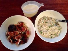 Breakie   -2oz quinoa flakes   Finely chopped fresh ginger &  mint -pinch ground ginger, cardamon, mixed spice  -2 tbsp chia seeds -8oz rice milk -6oz figs