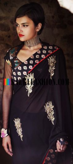 Buy Online from the link below. We ship worldwide (Free Shipping over US$100) http://www.kalkifashion.com/a-black-gaurav-gupta-saree-with-brocade-border.html A black Gaurav Gupta saree with brocade border
