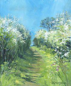 Roseland footpath. Giclee print. Original acrylic painting on canvas of Cornish springtime countryside.