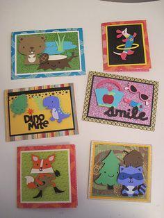 Birthday Cards with the Cricut - Beaver, Dog, Dinosaur, Purse, Fox and Raccoon