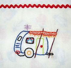 sweet dish towel embroidery