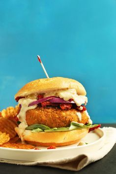 AMAZING Sun-dried Tomato Herbed CHICKPEA BURGER! Hearty, 10 ingredients, SO…