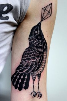 Black and White Raven Tattoo | Susanne König