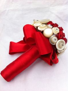 Hand made OOAK 'Strawberry and Cream' White by WeddingButtonique, £60.00