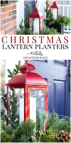 Easy DIY Outdoor Ch Easy DIY Outdoor Christmas Lantern Planter Idea for your Porch. Festive and fun way to welcome your friends and family! Uses LED candle and fresh greenery. Outdoor Christmas Planters, Christmas Urns, Front Door Christmas Decorations, Christmas Front Doors, Christmas Home, Christmas Lights, Christmas Crafts, Holiday Decor, Christmas Lanterns Diy