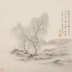 清泉濯古柳-2010年-任大庆, water is deep, wind is soft, heart is content.