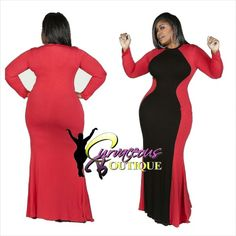 RED TWO SHADE MAXI DRESS   ( MODEL WEARING 2X )   SIZE :  1X 2X  3X   COLORS :  ROYAL BLUE  GRAY  JADE  TAN  RED   WWW.CURVACEOUSBOUTIQUE.COM & IN STORE   { { VISIT THE WEBSITE FOR ALL DETAILS & PRICE } }