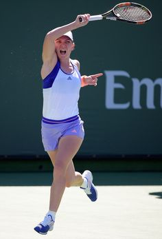Simona Halep Photos - Simona Halep of Romania returns a forehand in her match agianst Daria Gavrilova of Russia during the BNP Parisbas Open at the Indian Wells Tennis Garden on March 2015 in Indian Wells, California. Simona Halep, Bnp, Semi Final, Grand Prix, Cool Pictures, Tennis, Running, Photos, Sports