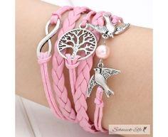 Armband Lebensbaum rosa  im Organza Beutel