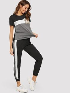 Contrast Sequin Tee With Contrast Striped Pants -SheIn(Sheinside) Athleisure Outfits, Sporty Outfits, Cool Outfits, Fashion Outfits, Two Piece Jumpsuit, Kids Nightwear, Kids Outfits Girls, Two Piece Outfit, Striped Pants