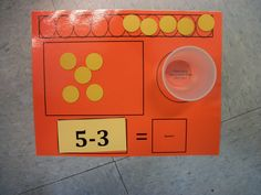 subtraction mat-- What a great Math Center game!