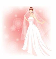 Wedding Illustrations | Free Beautiful Bride in The Wedding Vector Illustration