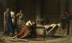 El suicidio de Séneca, Historiengemälde aus dem Jahr 1871 von Manuel Domínguez Sánchez, heute im Museo del Prado.     Senecas Bemühen, Neros eigensüchtig ausschweifendes Temperament zu kontrollieren, war jedoch kein dauerhafter Erfolg beschieden. Zuletzt beschuldigte ihn Kaiser Nero der Beteiligung an der Pisonischen Verschwörung und befahl ihm die Selbsttötung. Diesem Befehl kam Seneca nach.