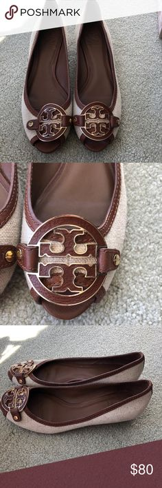 Like New -Tory Burch small wedges Super comfortable, great with jeans, classic Tory Burch emblem. Tory Burch Shoes Wedges