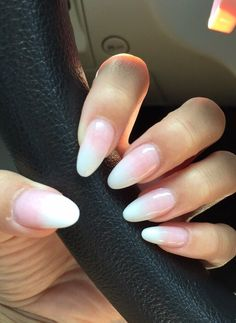 pink and white ombré oval gel nail