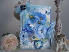 """Grande Carte d' Anniversaire """" Les Pivoines bleues"""" Série """"Ma Période Bleue """" : Cartes par les-petits-bonheurs-de-paty"""