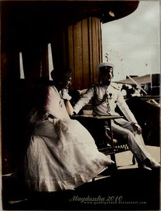 Nicholas + Alexandra by GuddiPoland on DeviantArt Tsar Nicholas II Romanov of Russia, 1868-1918, with his wife, tsarina Alexandra Feodorovna Romanova, 1872-1918, on board their yacht 'Standart'.